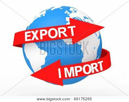 3d earth globe with import export