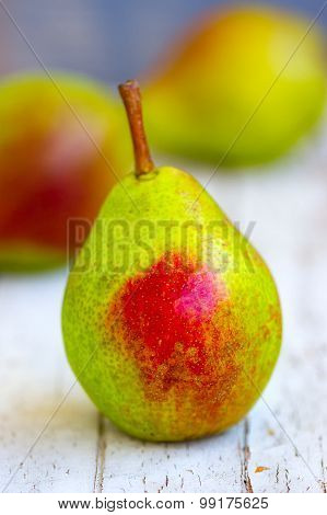 Green Pear With Red Side