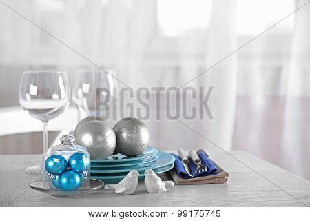 Decorated Christmas table setting. Christmas menu concept