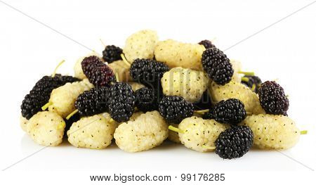 Fresh mulberry isolated on white