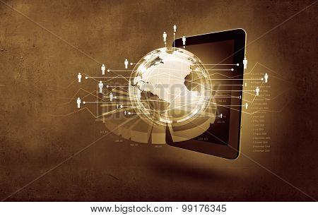 Global connection concept with tablet pc and digital Earth planet