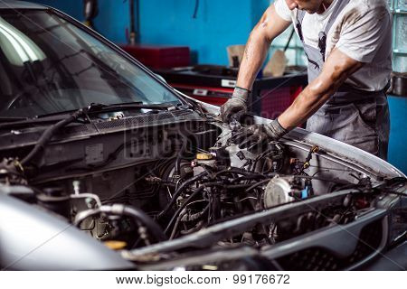 Mechanic Maintaining Car Engine