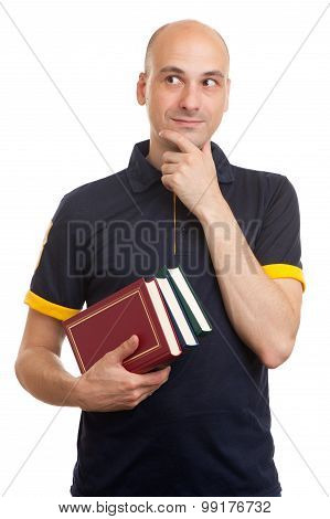 Young Bald Man Holding Books