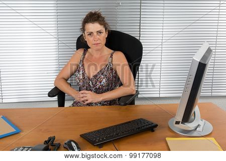 Portrait Of A Business Woman Using Laptop At Office