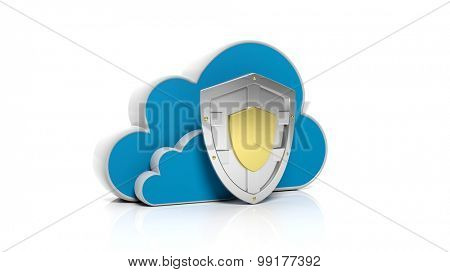 Silver shield with clouds symbols isolated on white background