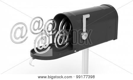 Black mailbox with email symbols isolated on white background