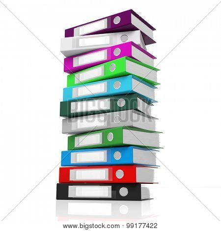 Multicolor office folders with blank label isolated on white background