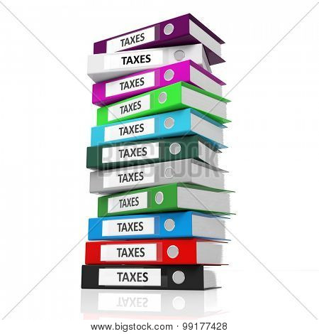Multicolor office folders with label Taxes isolated on white background