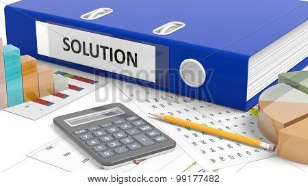 Office desktop with stats, calculator, pencil, papers and folder named Solution