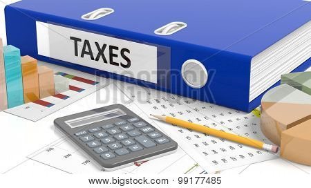 Office desktop with stats, calculator, pencil, papers and folder named Taxes