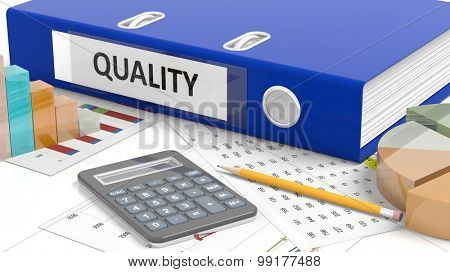 Office desktop with stats, calculator, pencil, papers and folder named Quality