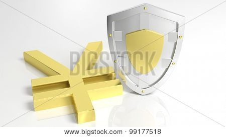 Silver shield and gold Yen symbol, isolated on white background