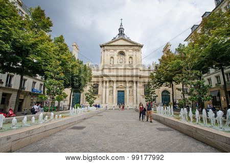 Place de la Sorbonne in front of Eglise de la Sorbonne in Paris