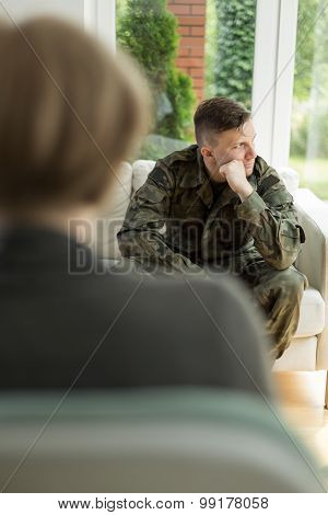 Young Soldier With Depression