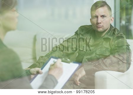 Troubled Soldier During Psychotherapy Session