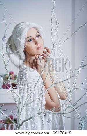 Beautiful White Hair Woman In Fairy White Dress