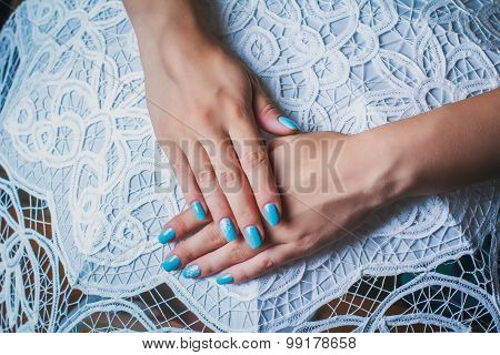 Nail Art With Blue Background And White Lace