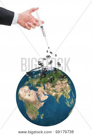 Hand Holding Syringe Filled With Currency