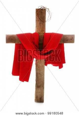 Cross with crown of thorns and red cloth, isolated on white