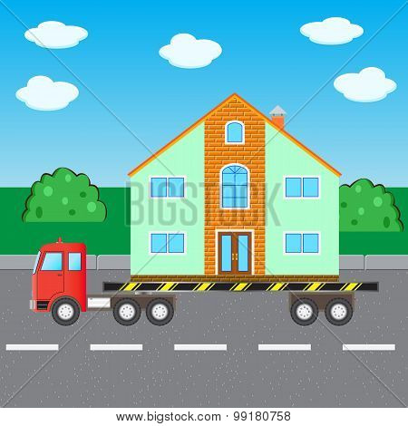 The Car Truck Transports House