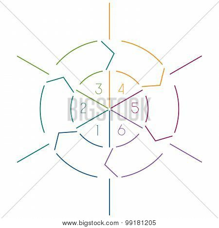 Infographic Circle Colourful Lines 6 Positions