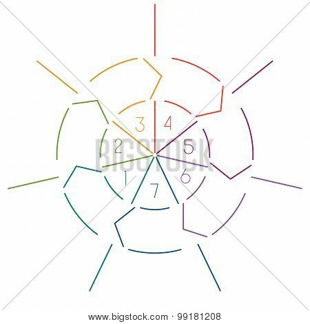 Infographic Circle Colourful Lines 7 Positions