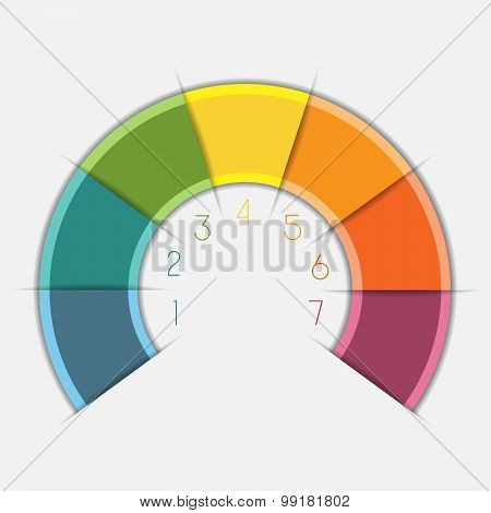 Infographic Color Semicircle On 7 Positions