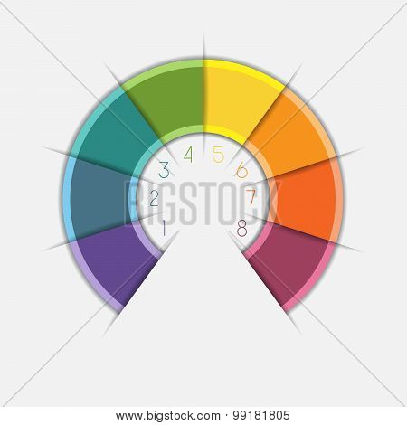 Infographic Color Semicircle On 8 Positions