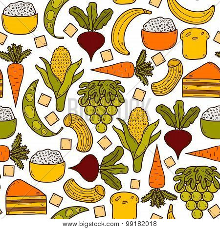 Seamless background with products prohibited during paleo diet in hand drawn cartoon style: corn, ca