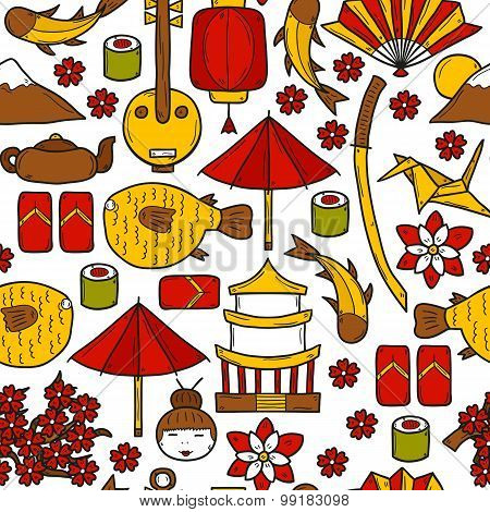 Seamless background with objects in hand drawn style on Japan theme: geisha, sword, sushi, sakura, l