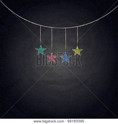 Chalkboard Background With Drawing Bunting Stars