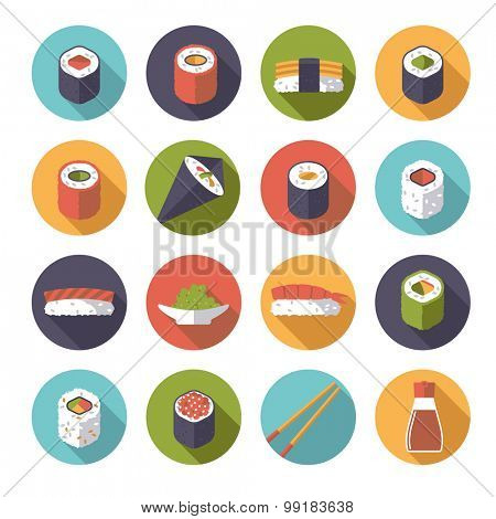 Sushi Flat Design Vector Icons Collection. Set of 16 sushi related icons in circles, flat design, long shadow