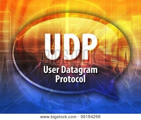Speech bubble illustration of information technology acronym abbreviation term definition UDP User Datagram Protocol