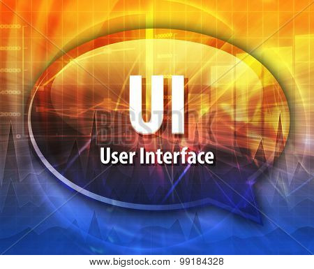 Speech bubble illustration of information technology acronym abbreviation term definition UI User Interface