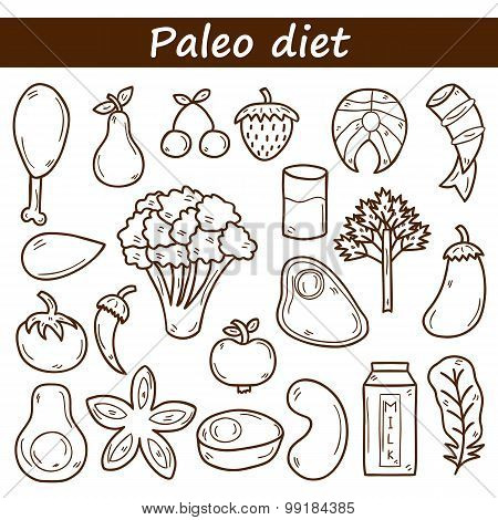 Set of objects in hand drawn outline style on paleo diet theme: meat, fish, fruits, vegetables, spic