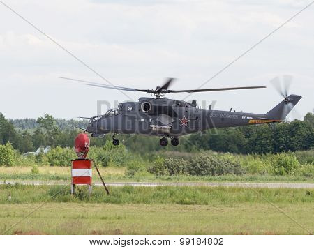 Mi-35 Landing At An Air Show