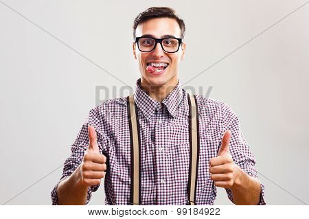 Nerdy man giving thumb up