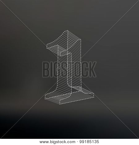 Vector low poly numbers 1. Polygon number 1 alphabet. Vector illustration.