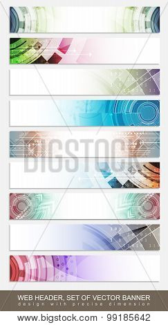 Horizontal website header banner or footer with colorful abstract pattern - set