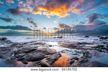 Beautiful sky and rocky shore on the island of Maui, Hawaii. United States of America