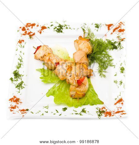 Kebab meat with herbs