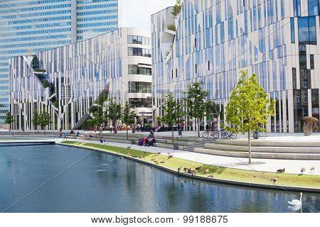 DUSSELDORF, GERMANY - JULY, 2015: Ko Bogen building structure in Dusseldorf Germany