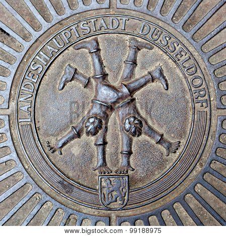 DUSSELDORF, GERMANY - JULY, 2015: Emblem of famous Dusseldorf cartwheelers