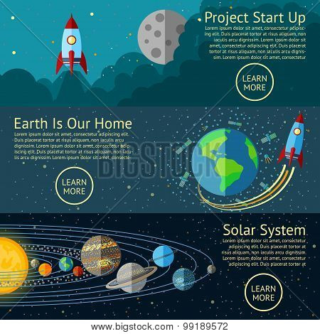 Set of Space banners concepts - Rocket start up, Earth from Space, Solar system. Vector
