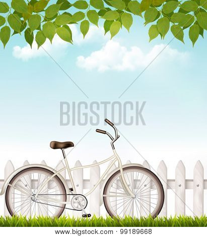 Bicycle in front of a white fence with green leaves. Vector.