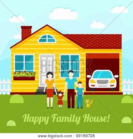 Happy family house concept illustration - couple with two kids, house, garage, car, cat. Vector