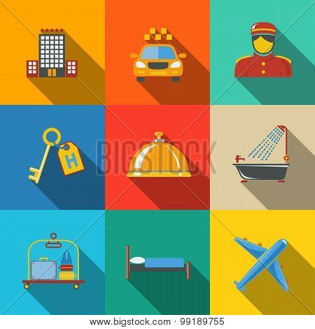 Hotel and service modern flat icons set on color squares - building, bell, bed, luggage, porter, roo