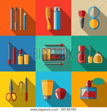 Set of flat makeup icons - mascara, polish, powders, lipsticks, perfume, lotions, comb, nail clipper