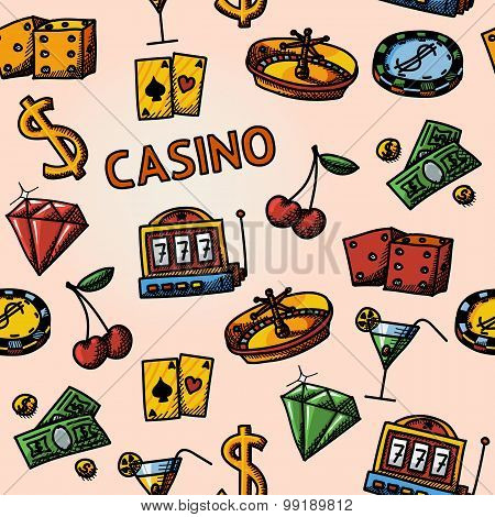 Seamless casino handdrawn pattern with - dice, poker cards, chip, cherry, slot machine, roulette, ma