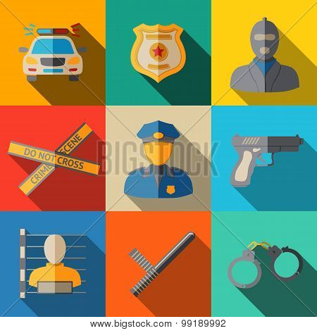 Set of flat police icons - gun, car, crime scene tape, badge, policemen, thief, thief in jail, handc
